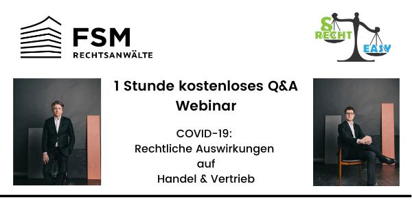 1 Stunde kostenloses COVID-19-Rechtsberatungs-Webinar: Auswirkungen auf Handel & Vertrieb