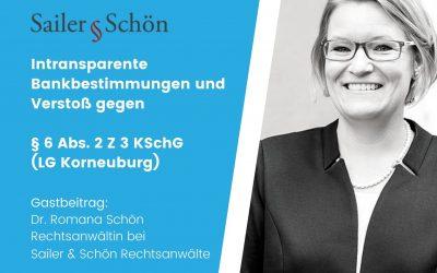 Intransparente Bankbestimmung und Verstoß gegen § 6 Abs 2 Z 3 KSchG (LG Korneuburg)